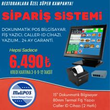 """RESTORAN POS SİSTEMİ (15"""" Dokunmatik Bilgisayar + 80 mm Fiş Yazıcı + Caller ID Cihazı + Restoran Yazılımı)"""